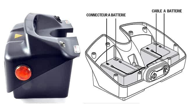Schéma de montage d'un pack batterie 14 Ah pour scooter électrique PMR ou à mobilité réduite