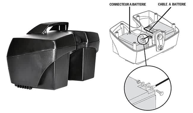 Compartiment de batterie dans le scooter électrique handicapé pour senior et personne à mobilité réduite