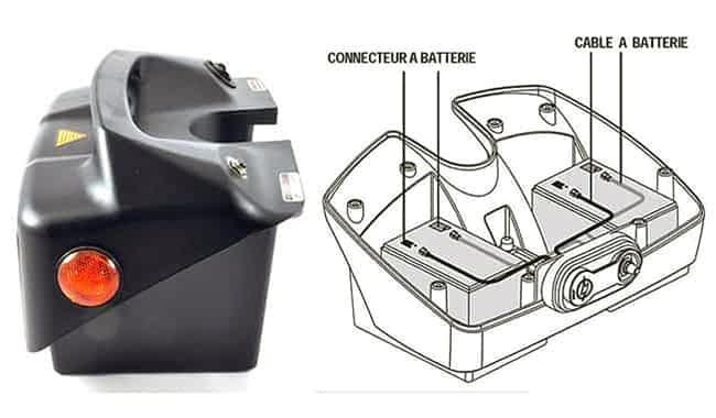 Schéma de montage d'un lot de batterie 12Ah pour scooter électrique handicapé ou à mobilité réduite