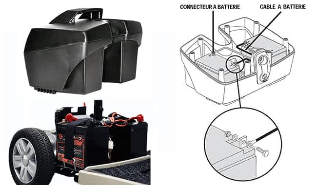 Schéma de montage de batteries lithium d'un scooter électrique PMR