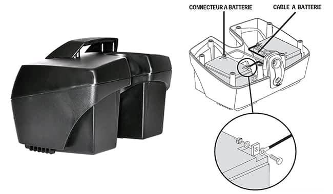 Pack de batterie 22Ah ouvert d'un scooter électrique PMR