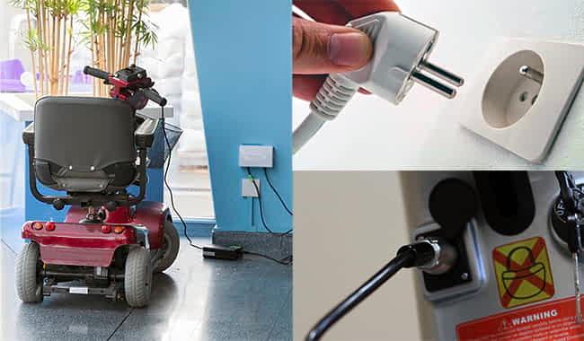 Chargeur AGM GEL connecté au scooter pour personne à mobilité réduite, prise murale et connexion 3-broches