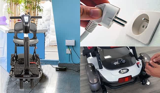 Chargeur compatible connecté au scooter pliable Pride Quest, Vermeiren Sedna et Heartway Brio, prise murale et connexion 3 broches