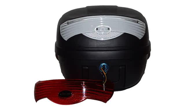 Top-case pour scooter médical avec les catadioptres en rouge et blanc cristal en standard