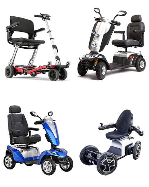 Gamme actuelle de scooters PMR & handicapé de Kingmobilité : Luggie, Midi XLS, Maxer et Scoozy