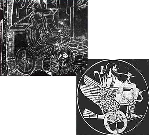 Chaise avec roues sur une table en pierre chinoise et sur un vase grec
