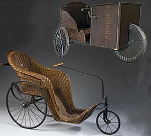 Premier tricycle avec manivelle et le Bath Chair