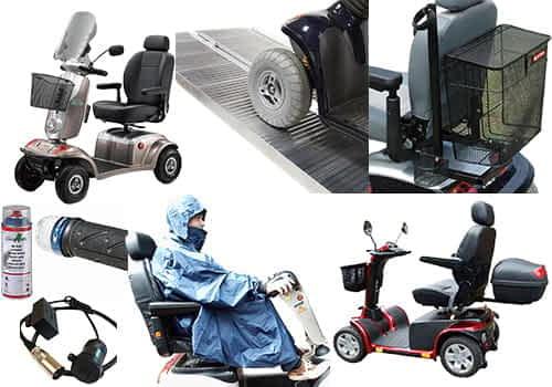 Apercu des accessoires, options et equipements pour scooter electrique de loisir, medical, senior et personne handicapee
