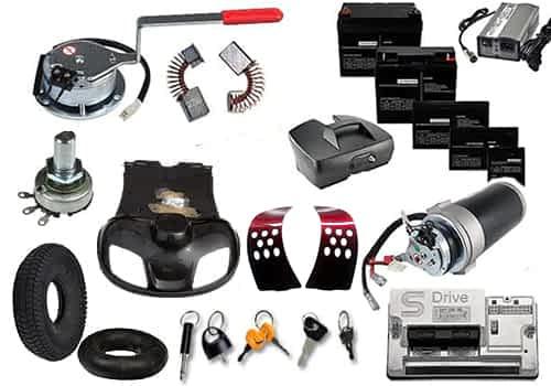 Aperçu des pièces détachées, de rechange et services pour scooter électrique de loisir, médical, senior et personne handicapée ou à mobilité réduite