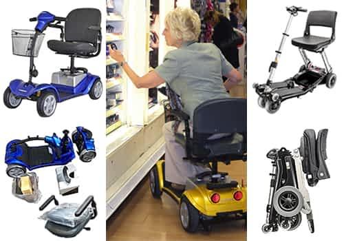 Aperçu des modèles scooter senior, pour personne handicapée et à mobilité réduite dans la catégorie transportable, mini et voyage, avec 3 et 4 roues