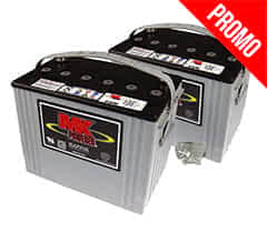 Deux batteries 79Ah AGM de MK Battery pour le scooter handicapé Invacare Orion Pro et Meteor