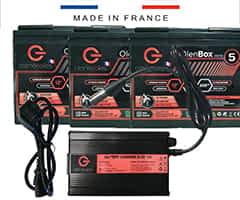 Trois batteries 51Ah lithium LiFePo4 et chargeur pour le scooter handicapé Pride Pursuit 36V