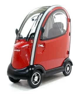 Scooter électrique de mobilité réduite et handicapé Shoprider 889XLSBN cabine en rouge