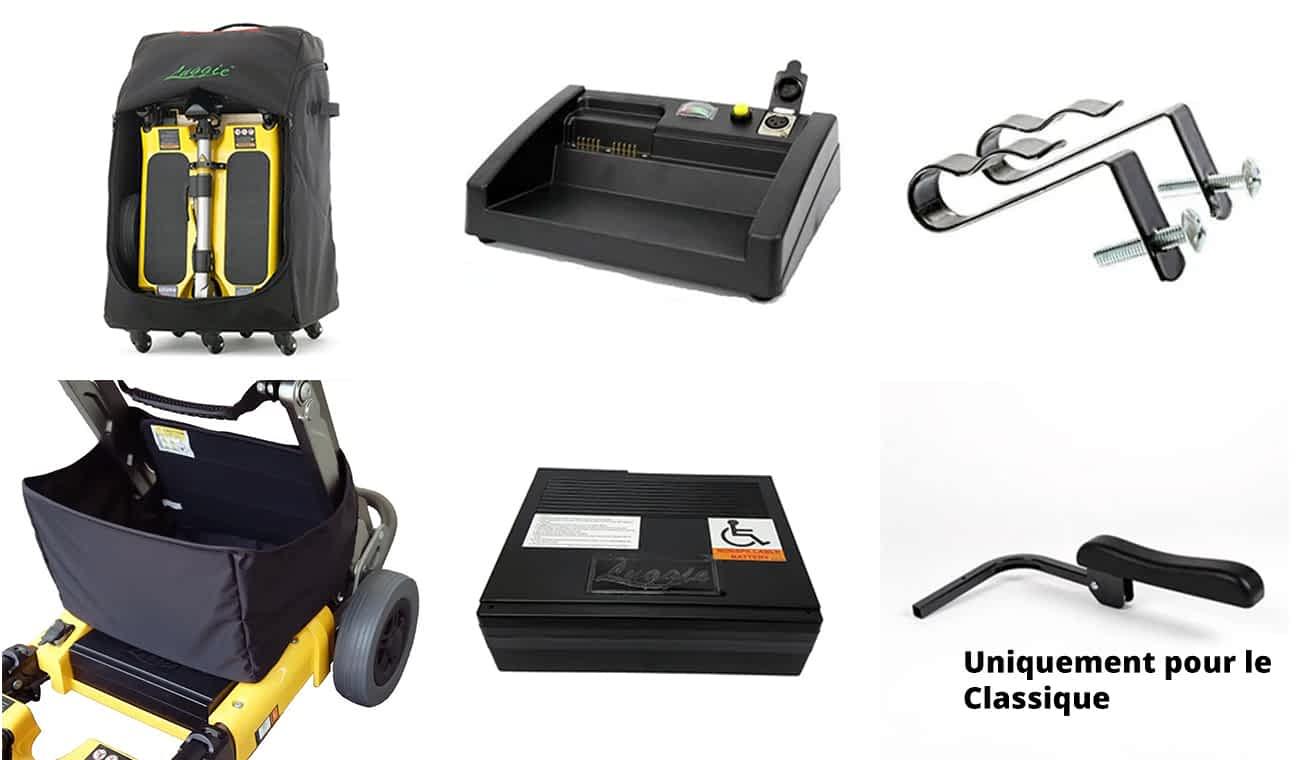 Les accessoires comme valise, porte-canne, chargeur, batterie et sacoche du scooter pliable Luggie Classique et Elite