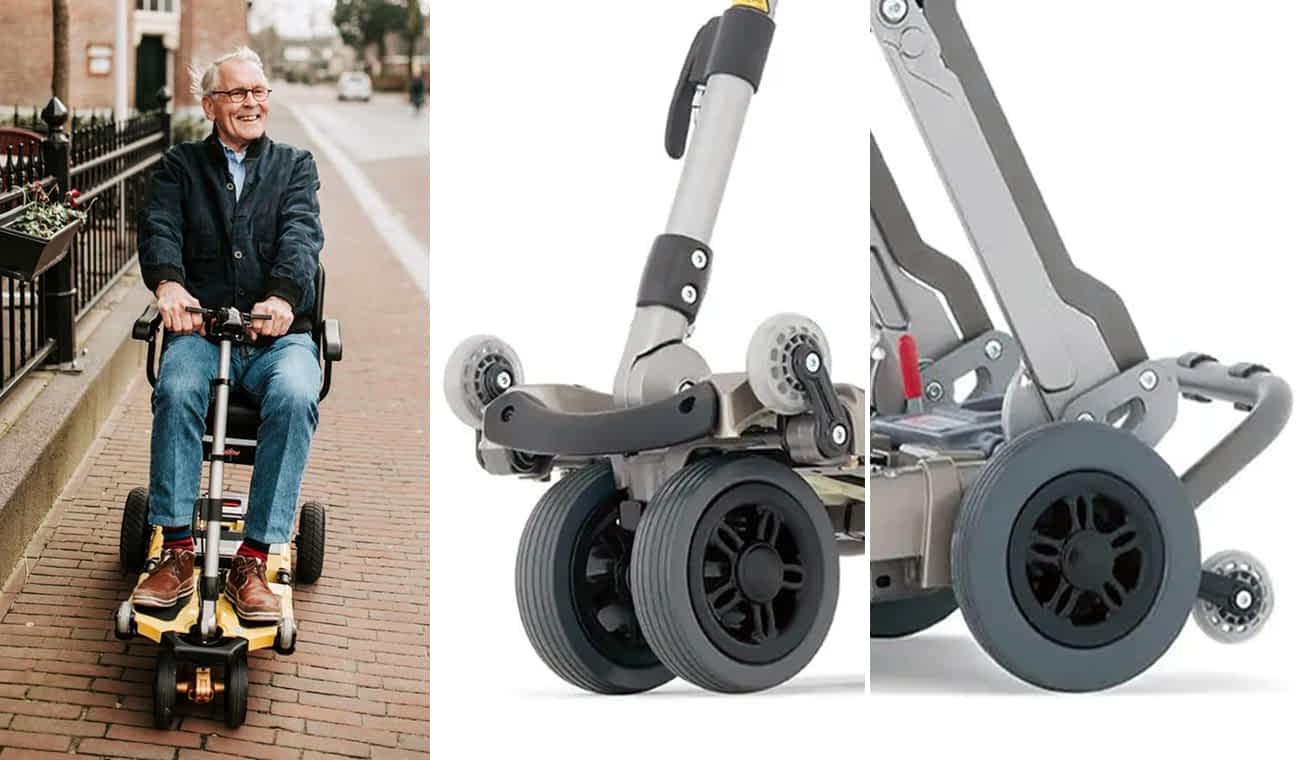Homme roule sur un Luggie dans la rue, avec les détails de roues à bandage avant et arrières avec les roulettes d'anti-bascule