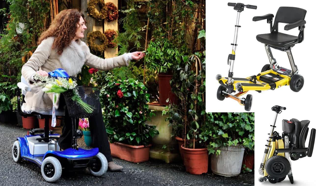 Le scooter électrique pour personne à mobilité réduite Kymco Mini LS à la jardinerie et le Luggie Deluxe 4-rues, ouvert et plié