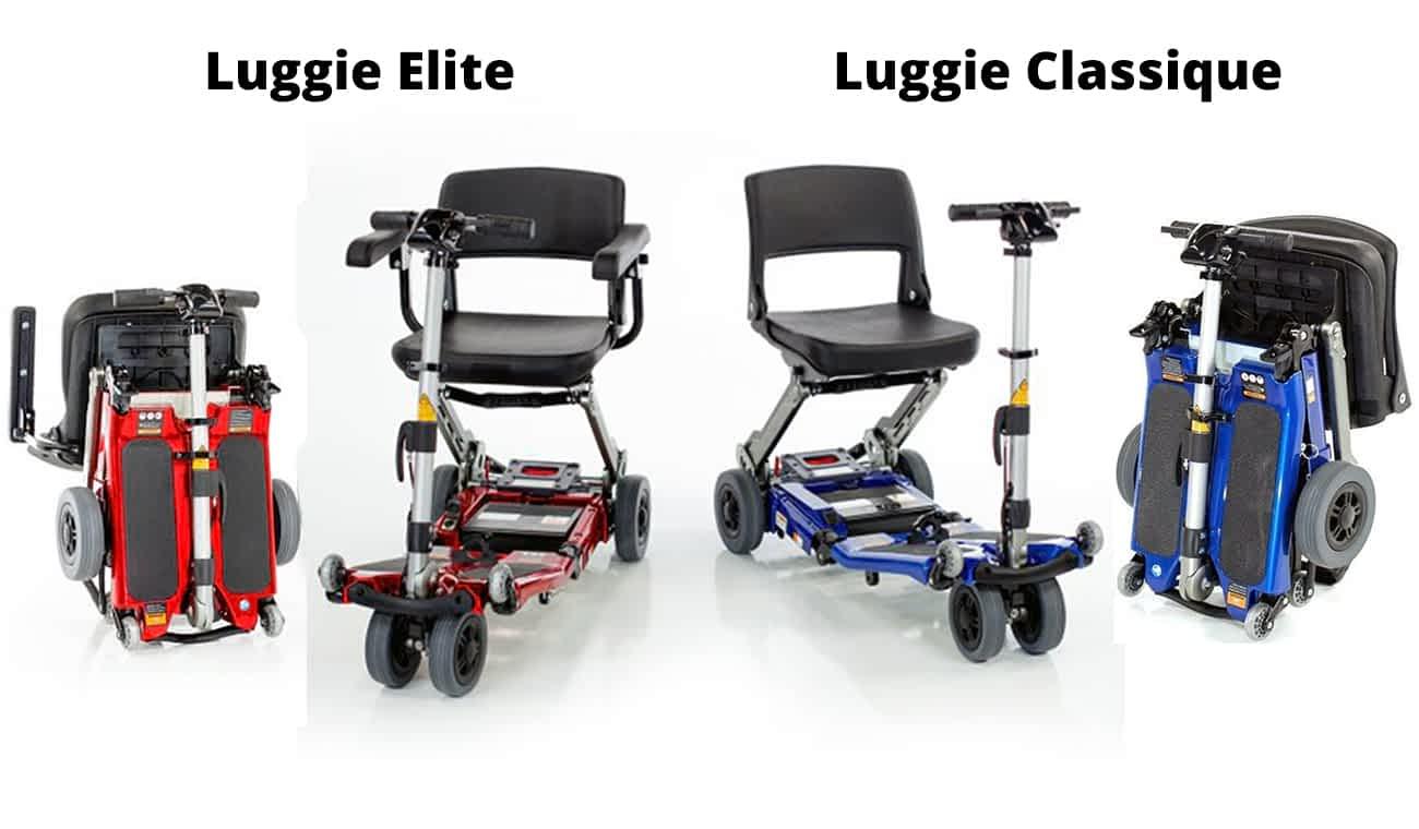 Les scooters électriques de mobilité réduite pliable : Luggie et Luggie Elite ensemble, à la fois ouverts et pliés