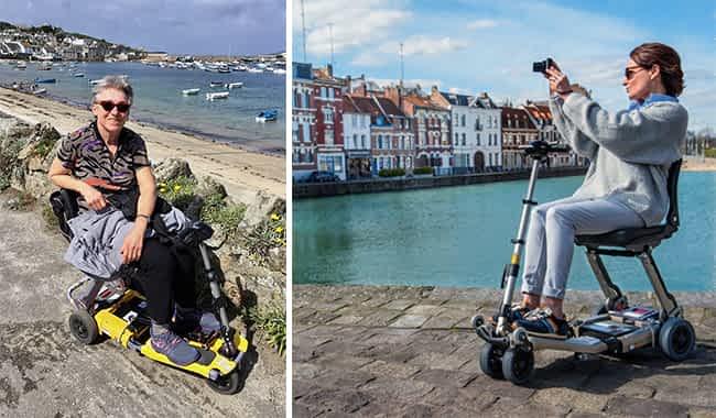 Le scooter pour senior et personne à mobilité réduite Luggie devant la plage et en arrêt sur un quai de port