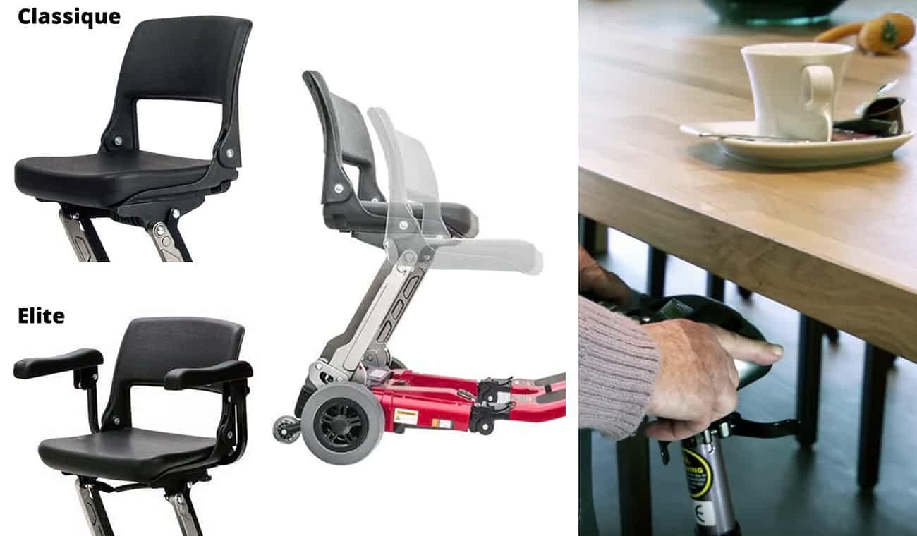 Les types de siège sur le Luggie et la facilité de conduire sous la table en abaissant la colonne de direction rétractable