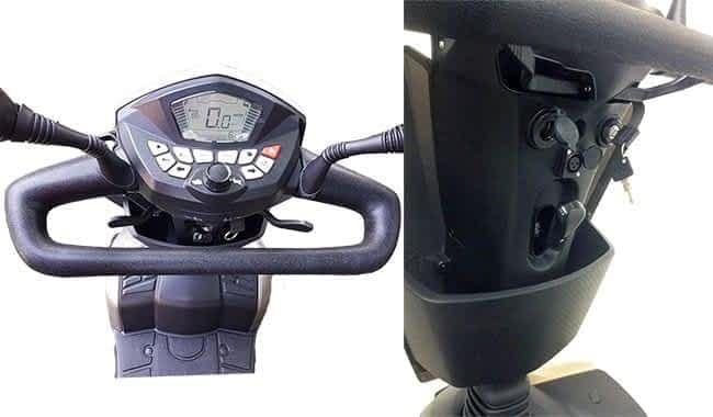 Guidon, panier et prise de charge 12 V du scooter pour personne à mobilité réduite Kymco Agility