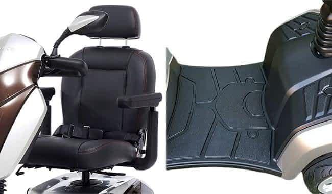 Le siège ergonomique respirant et le repose-pied royal du scooter électrique senior Kymco Agility