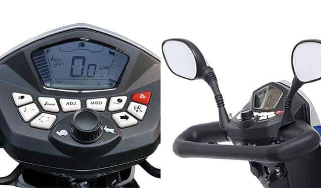 Le tableau de bord numérique et rétroviseurs du scooter électrique PMR Kymco Agility