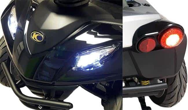 Le scooter électrique Kymco Maxer avec l'éclairage LED et pare-chocs en acier