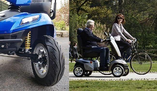 Le scooter électrique médicalisé Kymco Maxer suit un vélo et son très grand pneumatique