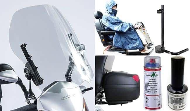 Pare-brise, poncho, top-case, support à cannes et peinture pour le scooter électrique senior Kymco Maxer