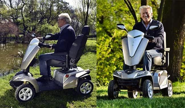 Le scooter électrique pour personne à mobilité réduite Kymco Maxer en champagne à la pêche et à la forêt