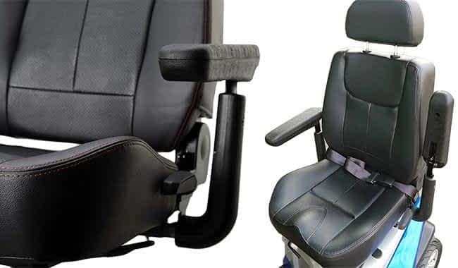 Détails de siège et accoudoirs multi-réglables du scooter électrique médical Kymco Healthcare Maxer