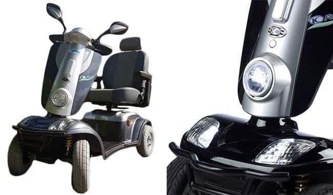 Large carénage avec grand phare à LED directionnel du scooter électrique médical Kymco Maxi XLS