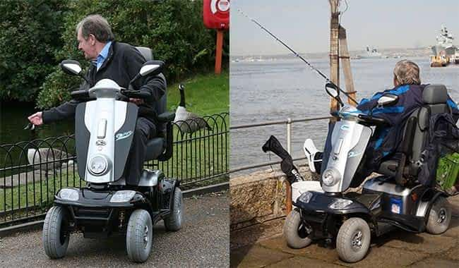 Le scooter électrique de mobilité réduite Kymco Maxi XLS dans un parc