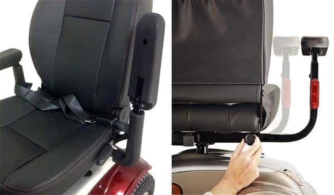 Siège et accoudoirs multi-réglables du scooter électrique pour personne à mobilité réduite Kymco Maxi XLS en détail
