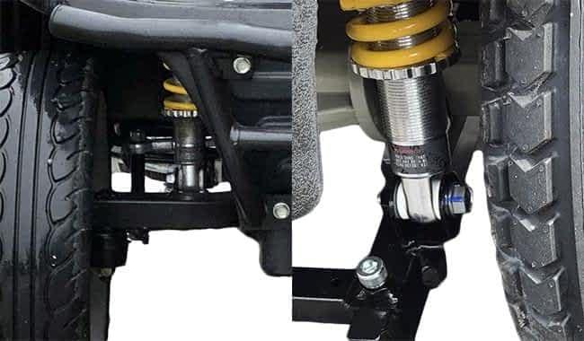 Suspensions réglables et gros pneus ballon du scooter médical Kymco Maxi XLS