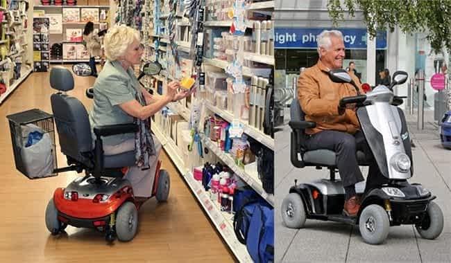 Le scooter rétro pour senior & handicapé Kymco Midi XLS dans un magasin et sur un trottoir