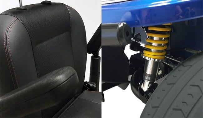 Siège Confort et amortisseur réglable du scooter électrique pour handicapé Kymco Midi XLS