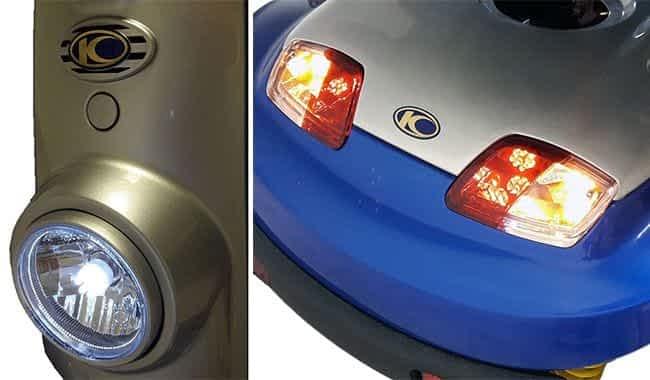 L'éclairage LED à l'apparence classique du scooter pour senior et handicapé Kymco Midi XLS