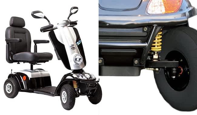 Scooter médical Kymco Midi XLS en noir, de face et en biais