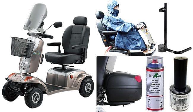 Pare-brise, poncho, top-case, porte-cannes et peinture pour scooter électrique médical Kymco Midi XLS