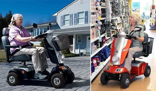 Scooter pour senior ou PMR Kymco Midi XLS devant une maison et dans un magasin