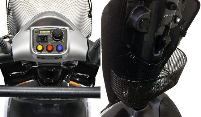 Tableau de bord et tablier intérieur bien organisé du scooter électrique médicaux Kymco Midi XLS