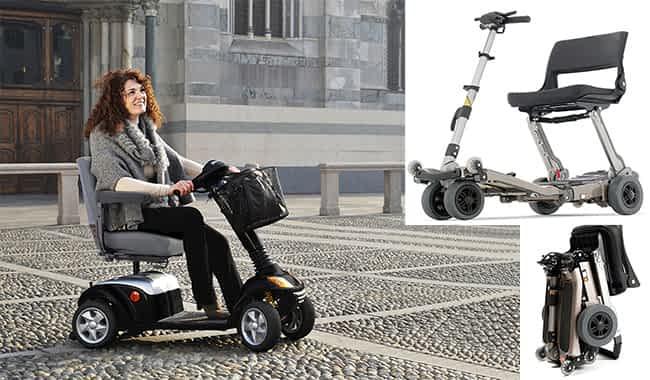 Scooter électrique pliable Freerider Luggie et le scooter électrique médical Kymco Super 6 - 8 sur les pavés