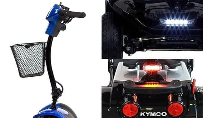 La colonne de direction incurvée et phares à LED en série du scooter électrique Kymco Mini LS et LS Confort