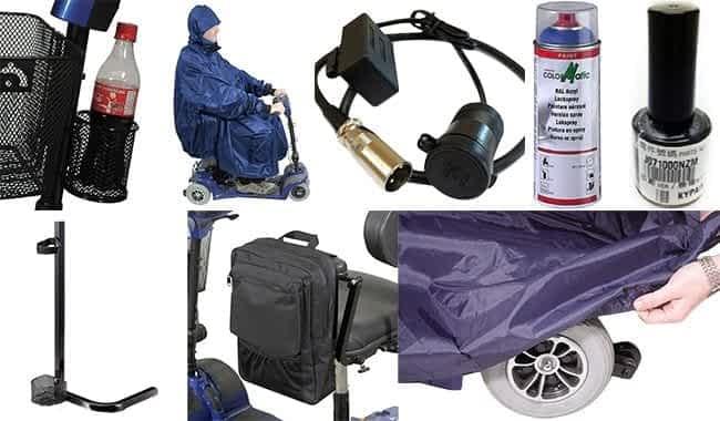 Les accessoires comme porte-bouteille, poncho et sacoche du scooter démontable Kymco Mini LS et Confort Plus