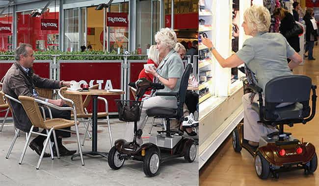 Le scooter pour senior et handicapé Kymco Mini LS Confort en Bronze sur une terrasse et dans un magasin