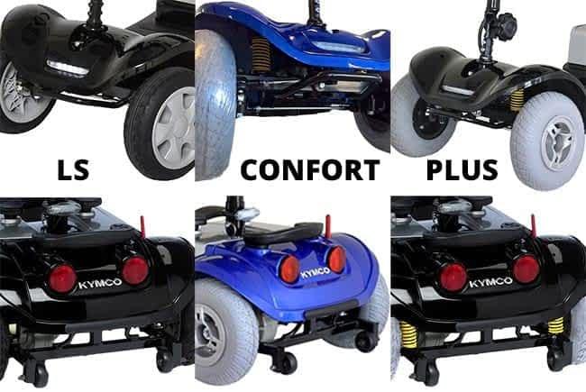 Image du scooter électrique de mobilité réduite : Kymco Mini LS sans suspension, Kymco Mini LS Confort avec suspension avant et Kymco Mini LS Confort Plus avec suspension avant et arrière