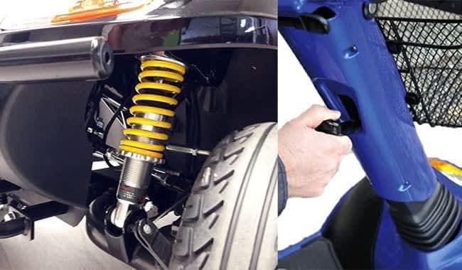 La colonne de direction et suspension réglable de scooter médical Kymco Super 6 et 8
