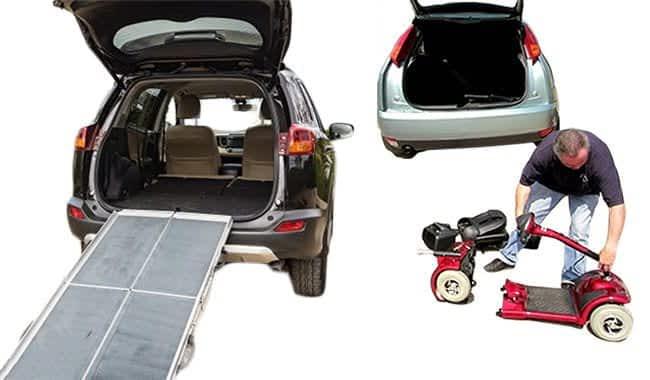 Scooter électrique pour personne senior et handicapée Kymco Super démonté devant une voiture muni d'une rampe