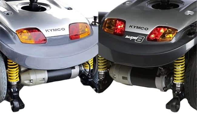 Le scooter pour personne handicapée Kymco Super 6 et le Super 8 sont disponibles avec deux vitesses